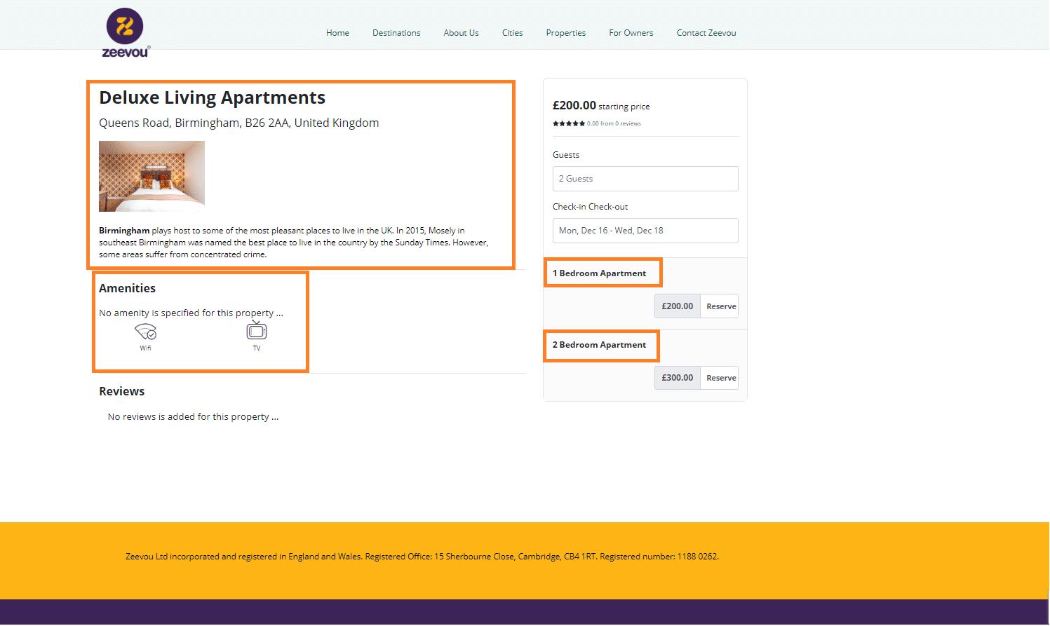 Edit a Property Page on Zeevou