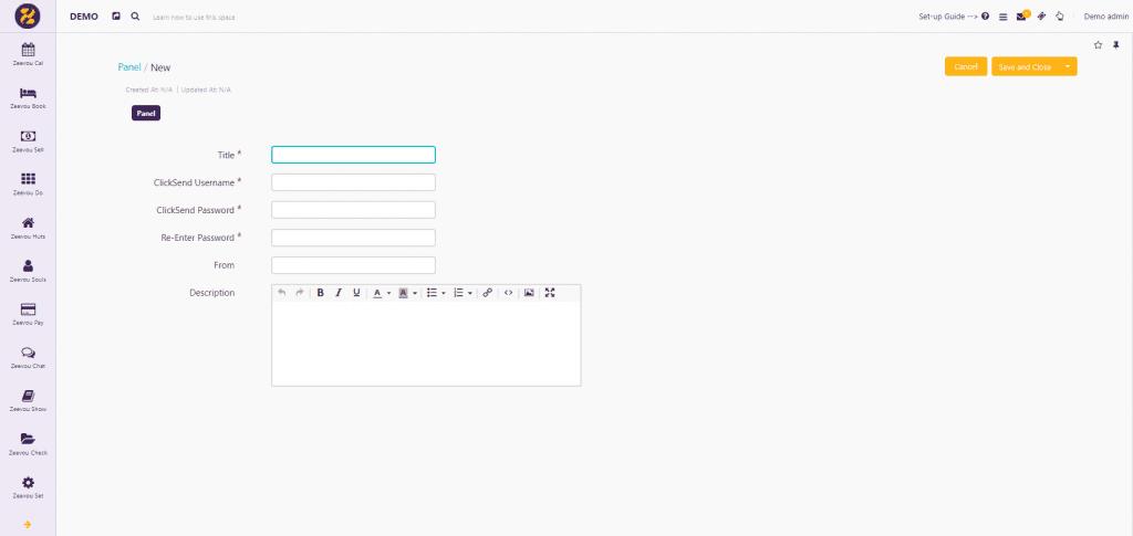 Link to ClickSend from Zeevou