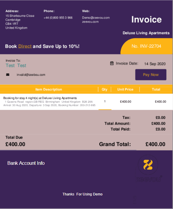change invoice colour