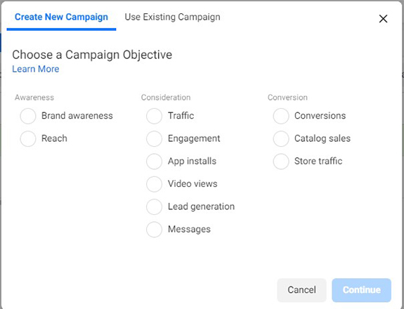 select an objective for the ad you are going to create in Ads Manager for vacation rental facebook ads- Zeevou