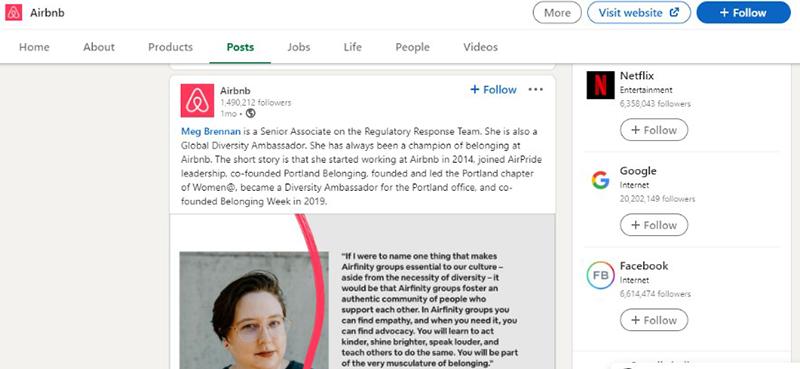 Airbnb Linkedin Page- property management social media- Zeevou