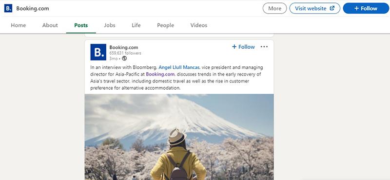 Booking.com Linkedin Page - Property Management Social Media - Zeevou