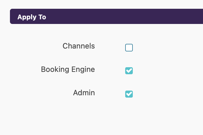 Booking Engine and Admin in the Apply To to section on Zeevou Hub