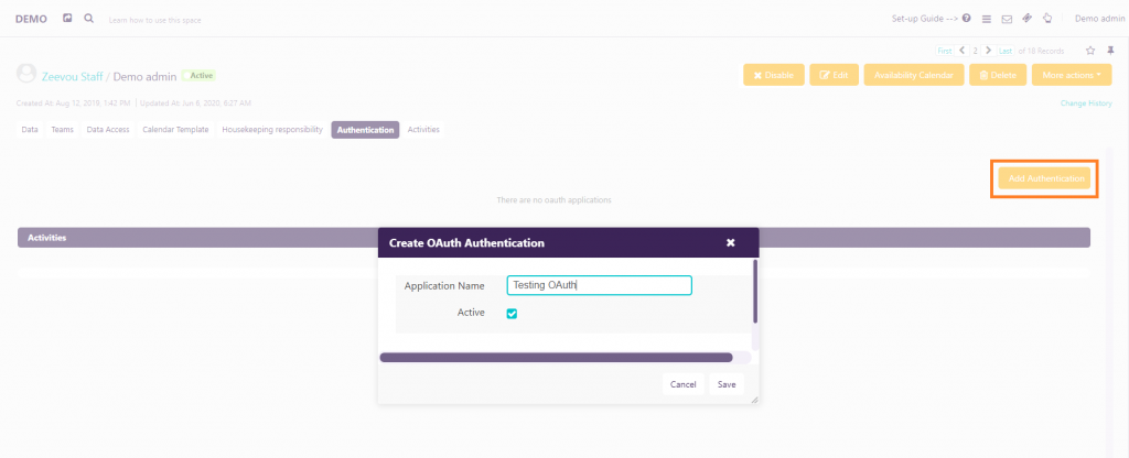 activating OAuth Authentication- Zeevou hub