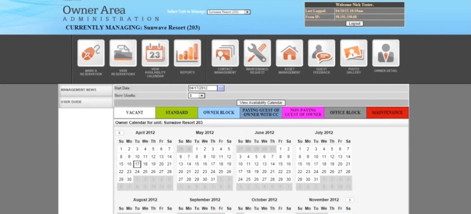 Streamline owner portal