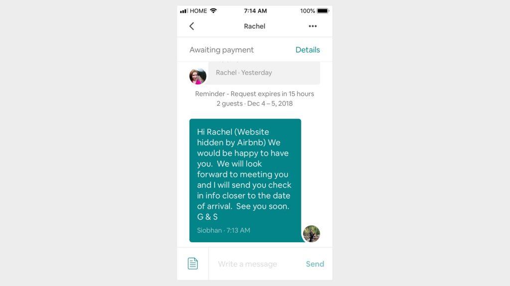 Airbnb messaging hide links- Zeevou